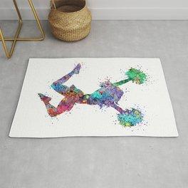 Cheerleader Art Girl Poms Dance Cheerleader Gifts Watercolor Print Sports Poster Dancing Gift Rug