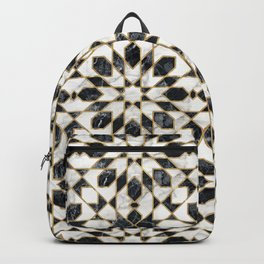 Black and white marble Moroccan mosaic Backpack