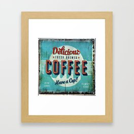 Vintage Style Coffee Sign Framed Art Print