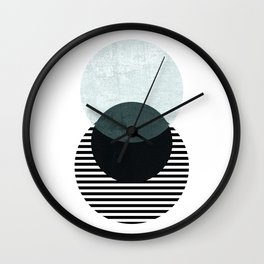 Blue, Black & Striped Circles Wall Clock