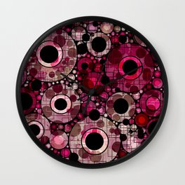 Vibrant Abstract Pink Bubbles design Wall Clock