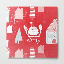 Santa is in Town Red #Holiday #Christmas Metal Print