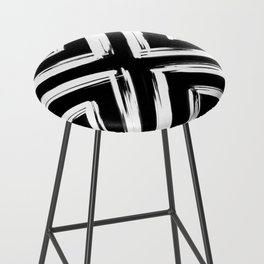 Minimalistic Black and White Paint Brush Triangle Diamond Pattern Bar Stool