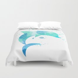 Turquoise Watercolor Dolphin Duvet Cover