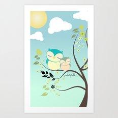 Sleeping Owls Art Print