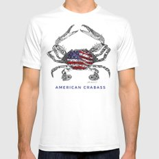 American Crabass White X-LARGE Mens Fitted Tee