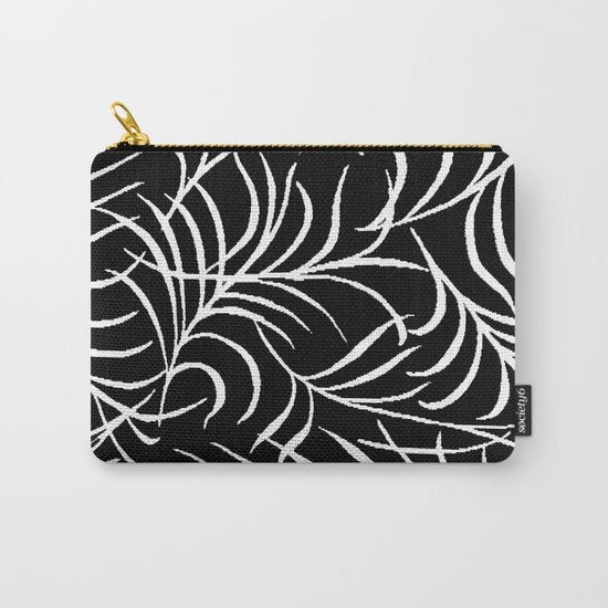 BLACK AND WHITE LEAF PALM Carry-All Pouch