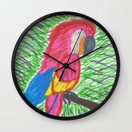 Pink Bird of Paradise Wall Clock