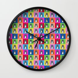 Pussy Cat illustration pattern Wall Clock