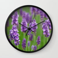 lavender Wall Clocks featuring lavender by GISMANA