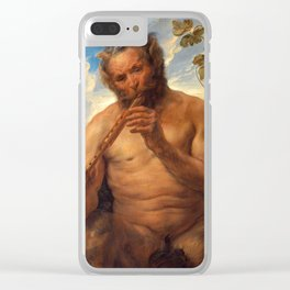 """Jacob Jordaens """"Satyr Playing the Pipe (Jupiter's Childhood)"""" Clear iPhone Case"""