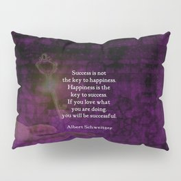Happiness Is The Key To Success Uplifting Inspirational Quote Pillow Sham