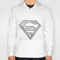 superman Hoodies featuring Superman by Frances Roughton