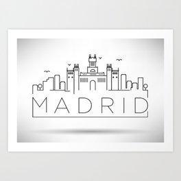 Linear Madrid Skyline Design Art Print