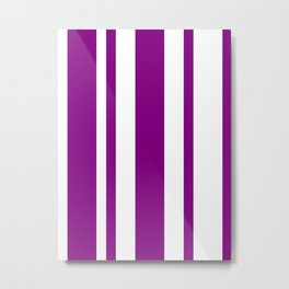 Mixed Vertical Stripes - White and Purple Violet Metal Print