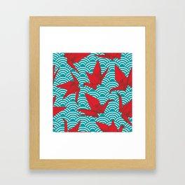 Origami red paper cranes sketch. burgundy maroon line Nature oriental Framed Art Print