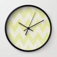 Grey and Lime Green Textured Chevron Pattern Wall Clock