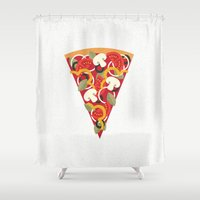 brad pitt Shower Curtains featuring PIZZA POWER - VEGO VERSION by Daisy Beatrice