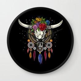 Hippie Cow Skull Dream Catcher Wall Clock