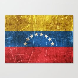 Vintage Aged and Scratched Venezuelan Flag Canvas Print