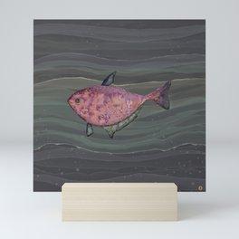 Mysterious red fish in deep sea waters Mini Art Print
