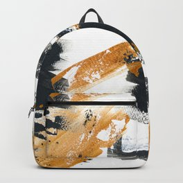 black gold abstract painting Backpack