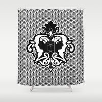 conan Shower Curtains featuring Detective's Damask by Jango Snow