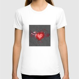 Abstract Love Letter red Grey Crumpled Paper T-shirt