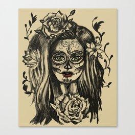 Day of Dead Girl Sugar Skull Girl Canvas Print