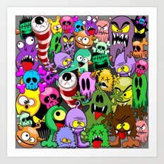 Monsters Doodles Characters Saga Art Print
