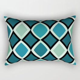Midcentury Warped Diamonds Teal Rectangular Pillow