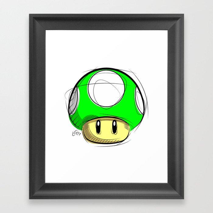 1 Up Mushroom Digital Drawing Games Art Super Mario Nintendo Art Framed Art Print By Lucagenart