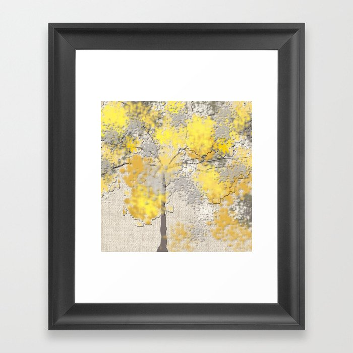 Abstract Yellow and Gray Trees Gerahmter Kunstdruck