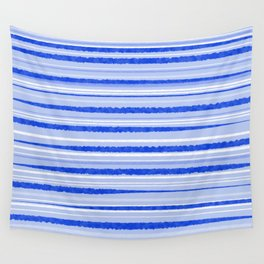 Watercolor Striped Pattern Royal Blue Light Blue White Wall Tapestry
