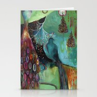 """flora bowley Stationery Cards featuring """"Light Trio"""" Original Painting by Flora Bowley by Flora Bowley"""