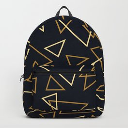 Contemporary Gold & Yellow Triangles On Black Geometric Pattern Backpack