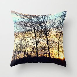 trees over a sky on fire Throw Pillow