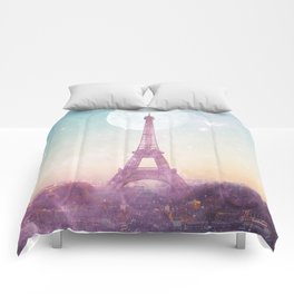 I LOVE PINK PARIS EIFFEL TOWER - Full Moon Universe Comforters