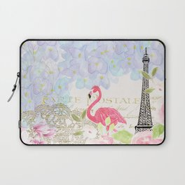 Elegant vintage french Eiffel Tower watercolor flamingo floral Laptop Sleeve