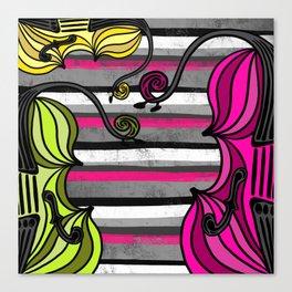 String Trio on stripes Canvas Print
