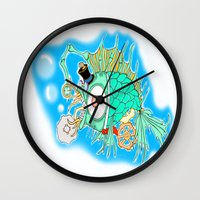 steam punk Wall Clocks featuring Whimsical Steam Punk Fish by J&C Creations