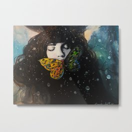 The Crow And The butterfly Metal Print