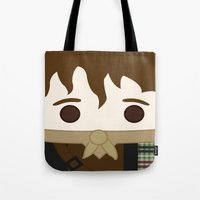 outlander Tote Bags featuring Outlander, Jamie Fraser by heartfeltdesigns by Telahmarie