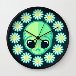 Sad Alien and Daisy Nineties Grunge Pattern Wall Clock