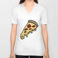 pizza V-neck T-shirts featuring pizza by mike boyle