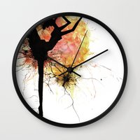 dancer Wall Clocks featuring dancer by liva cabule