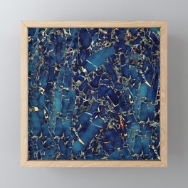 Dark blue stone marble abstract texture with gold streaks Framed Mini Art Print
