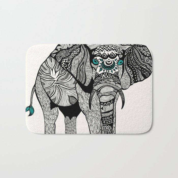 Tribal Elephant Black and White Version Bath Mat