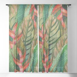 Painted Jungle Leaves 2 Sheer Curtain