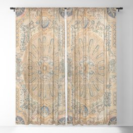 Louvre Fame Carpet // 16th Century Sunflower Yellow Blue Gold Colorful Ornate Accent Rug Pattern Sheer Curtain